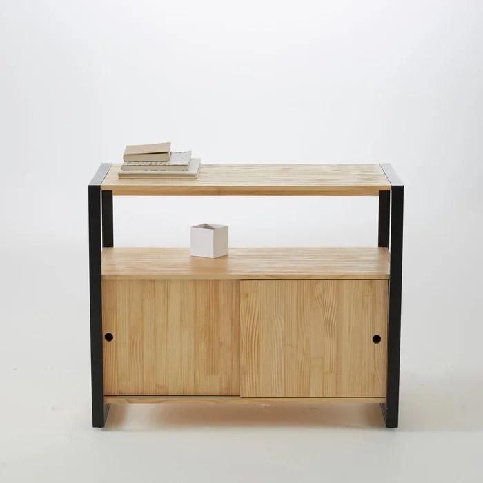 meuble sous vasque hiba pin et metal l90 cm