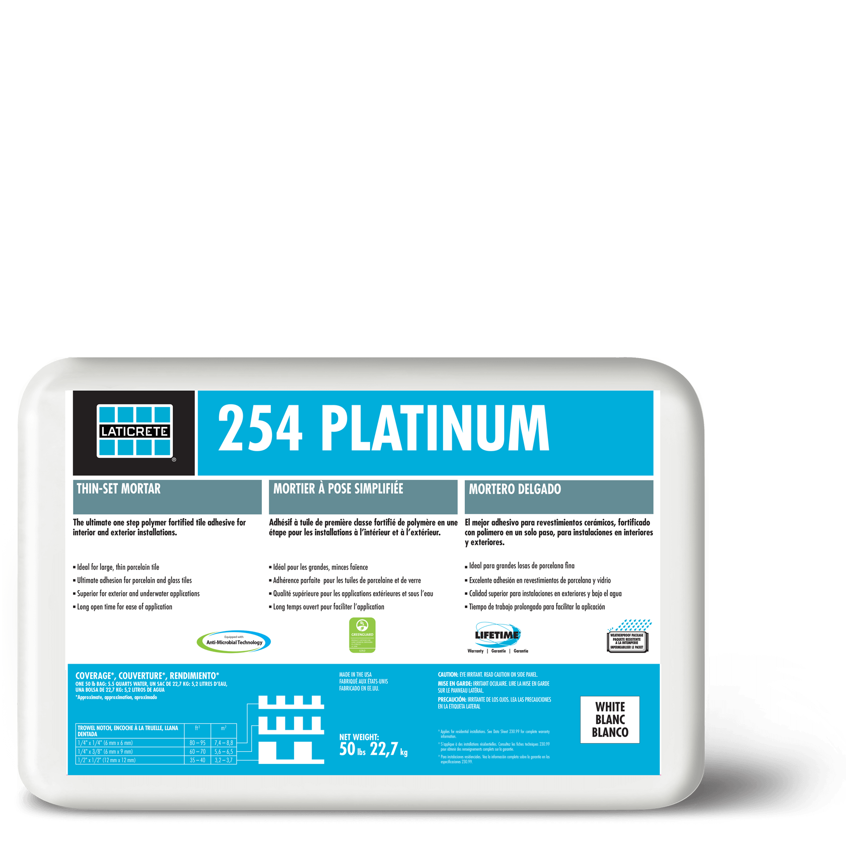 Mix with grout enhancer to improve performance. 254 Platinum Ultimate One Step Thin Set Mortar Laticrete