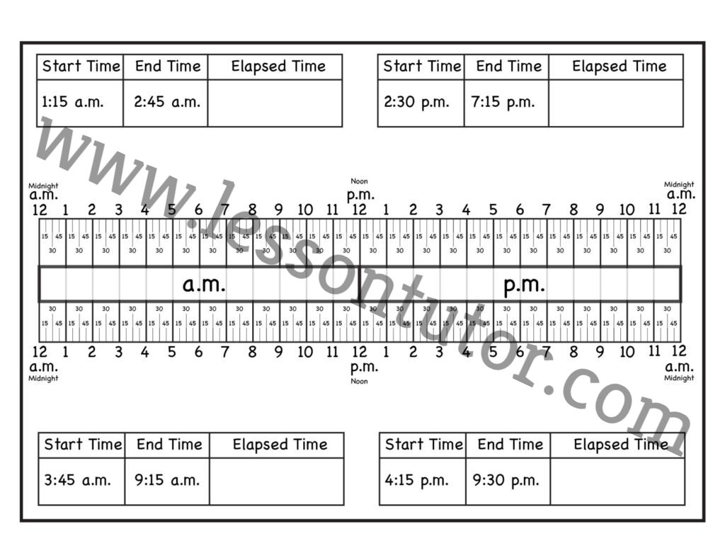 Calculate Elapsed Time Worksheet Second Grade