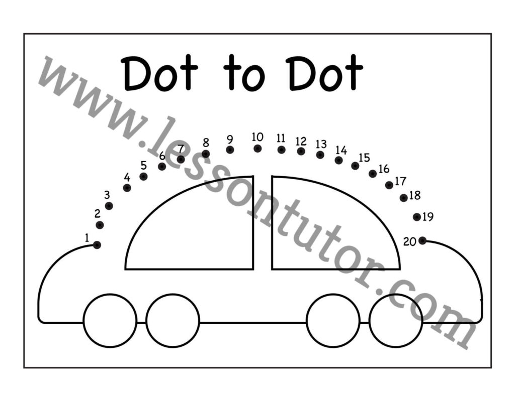 Dot To Dot Car Numbers Worksheet Kindergarten