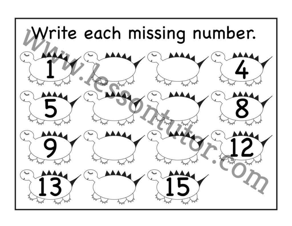Missing Numbers 1 15 Worksheet Kindergarten