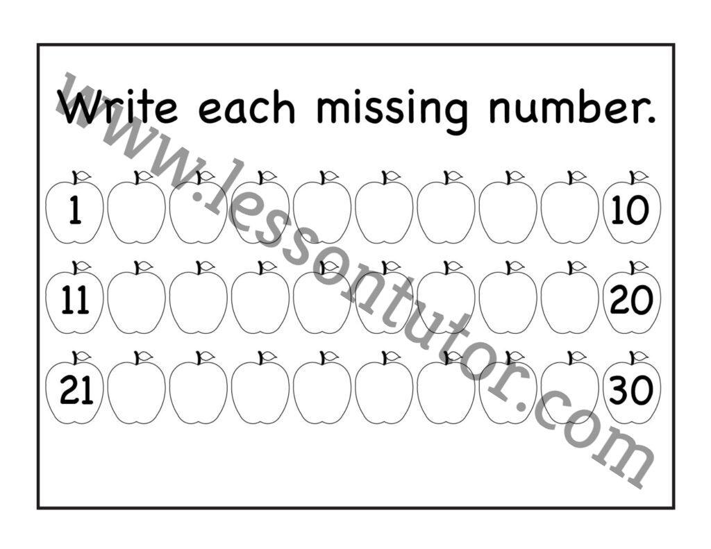 Missing Numbers 1 30 Worksheet Kindergarten 5
