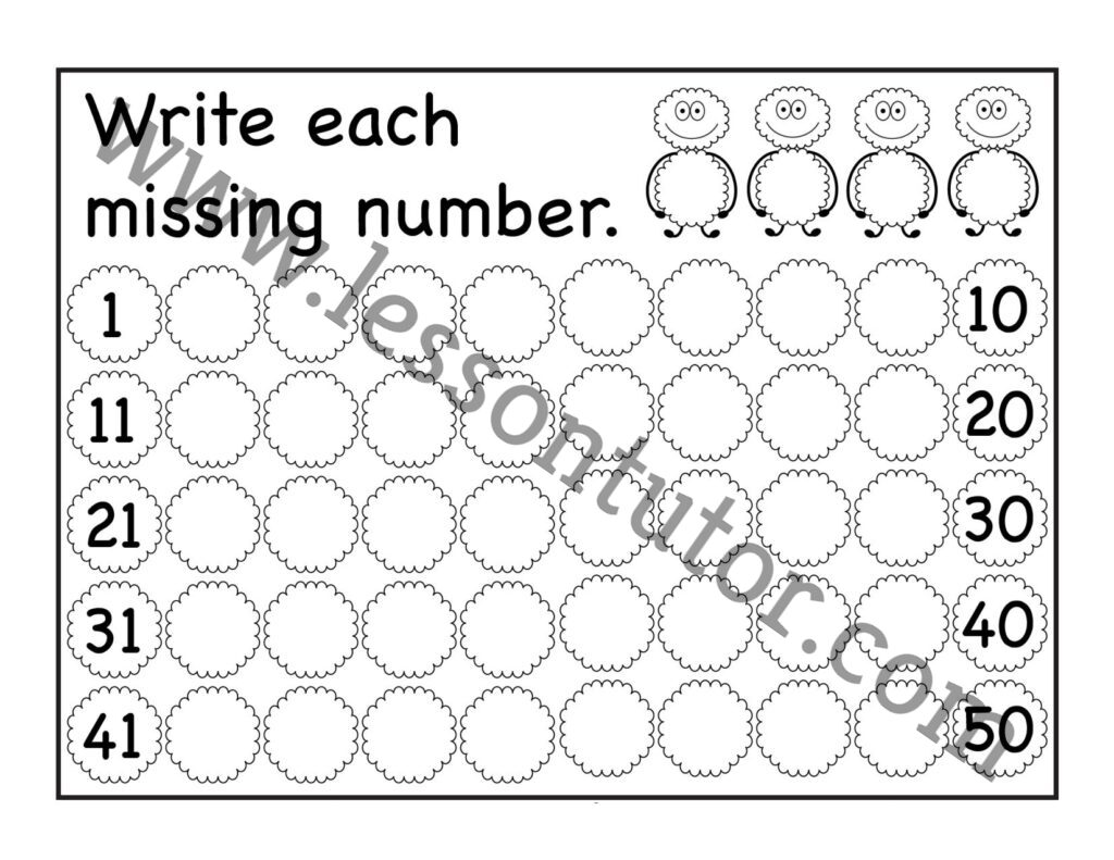 Missing Numbers Worksheets Page 3 Of 7