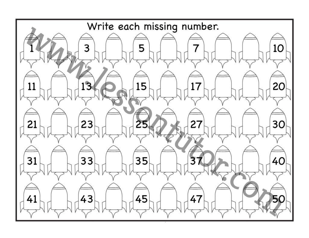 Missing Numbers 1 50 Worksheet Kindergarten