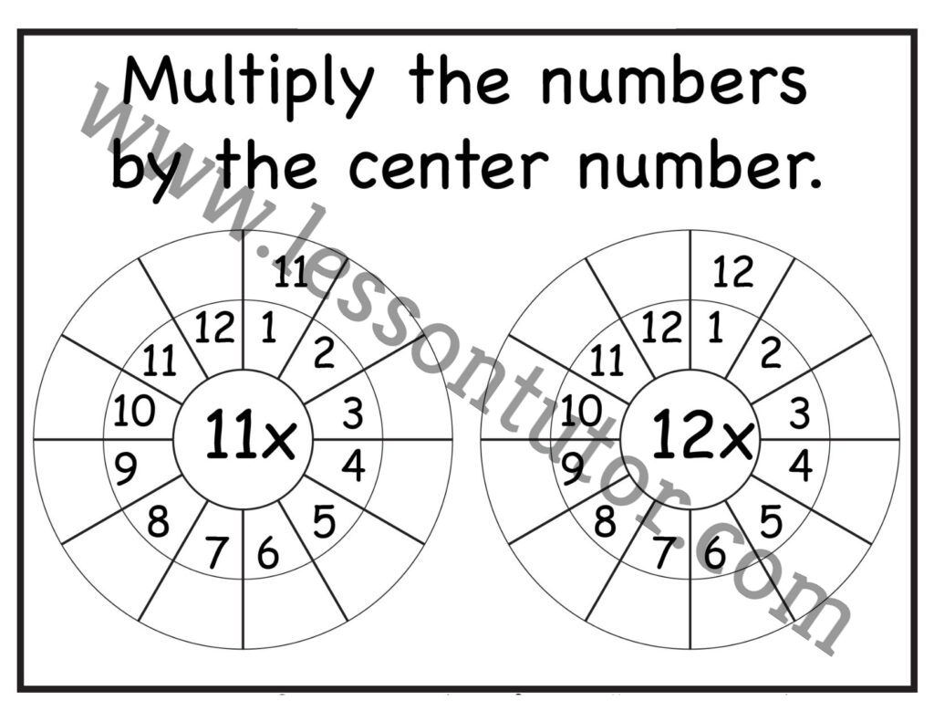 Multiplication Target Circles 11 12 Times Table