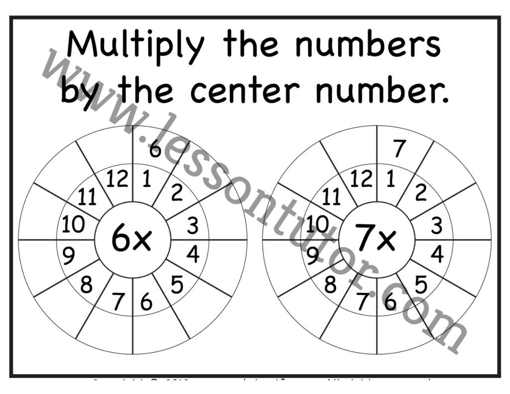Multiplication Target Circles 6 7 Times Table Worksheet