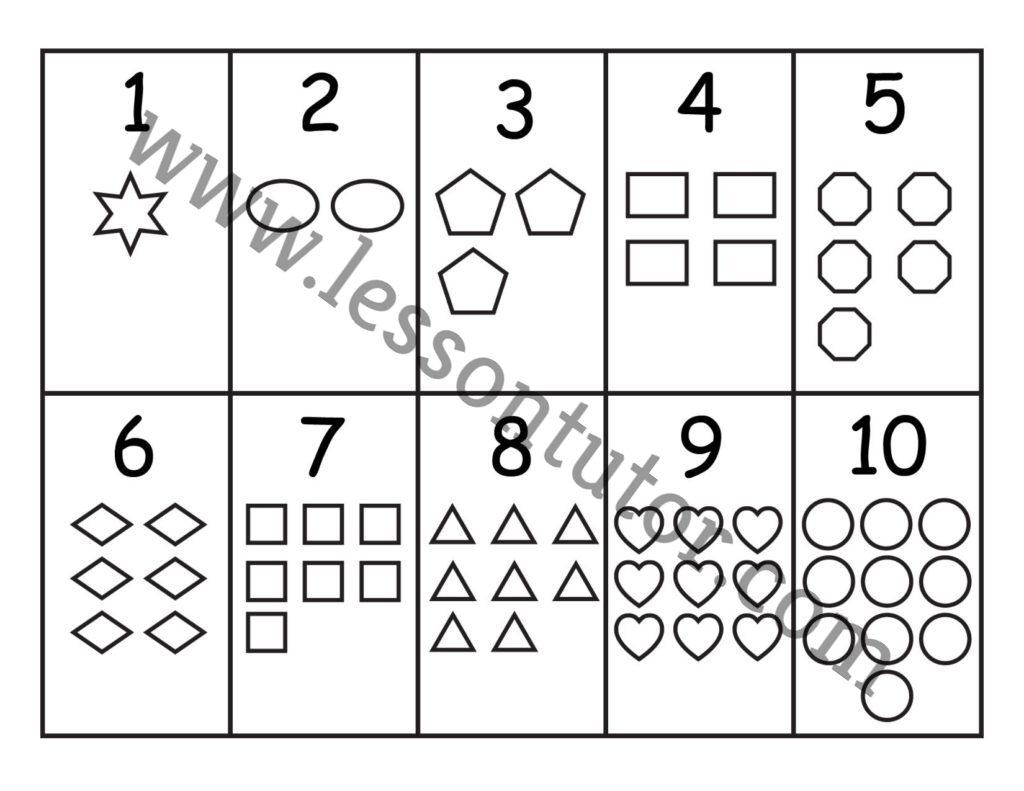 Number Shapes Worksheet Preschool