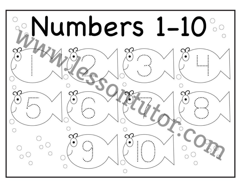 Number Tracing Fish Worksheet Kindergarten