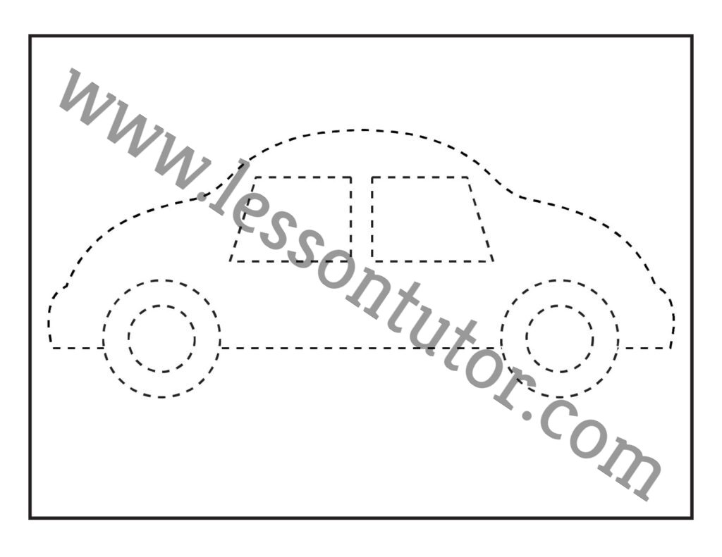 Picture Tracing Car Worksheet Kindergarten