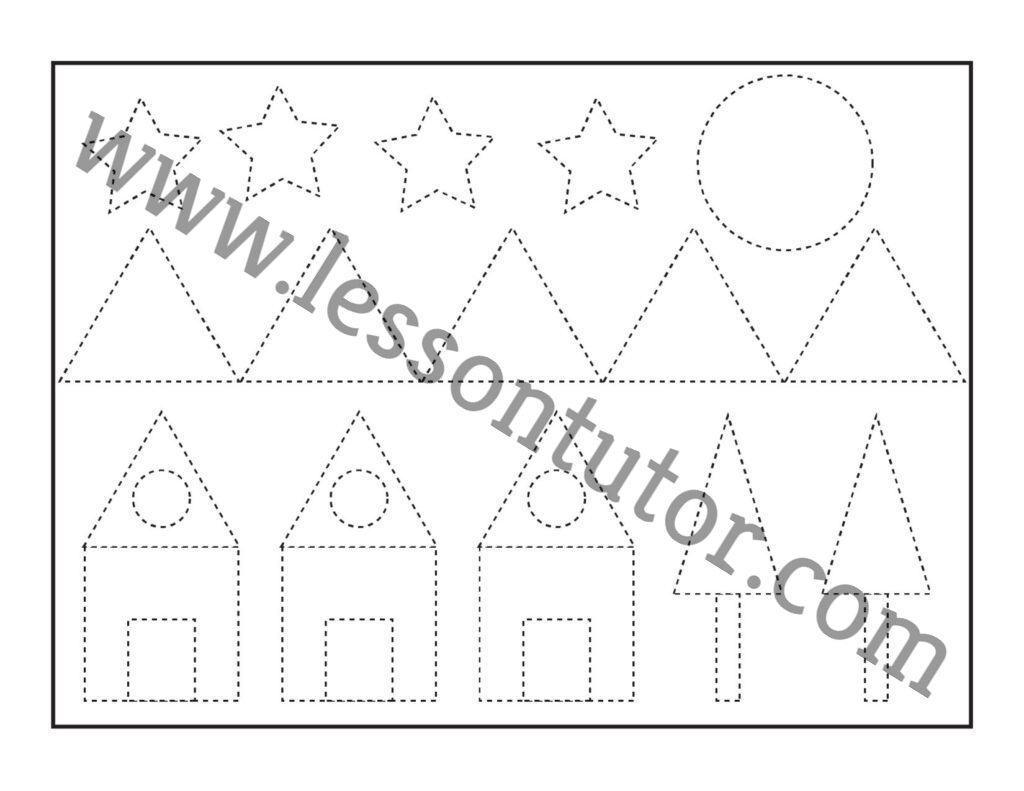 Picture Tracing Shapes Worksheet Preschool