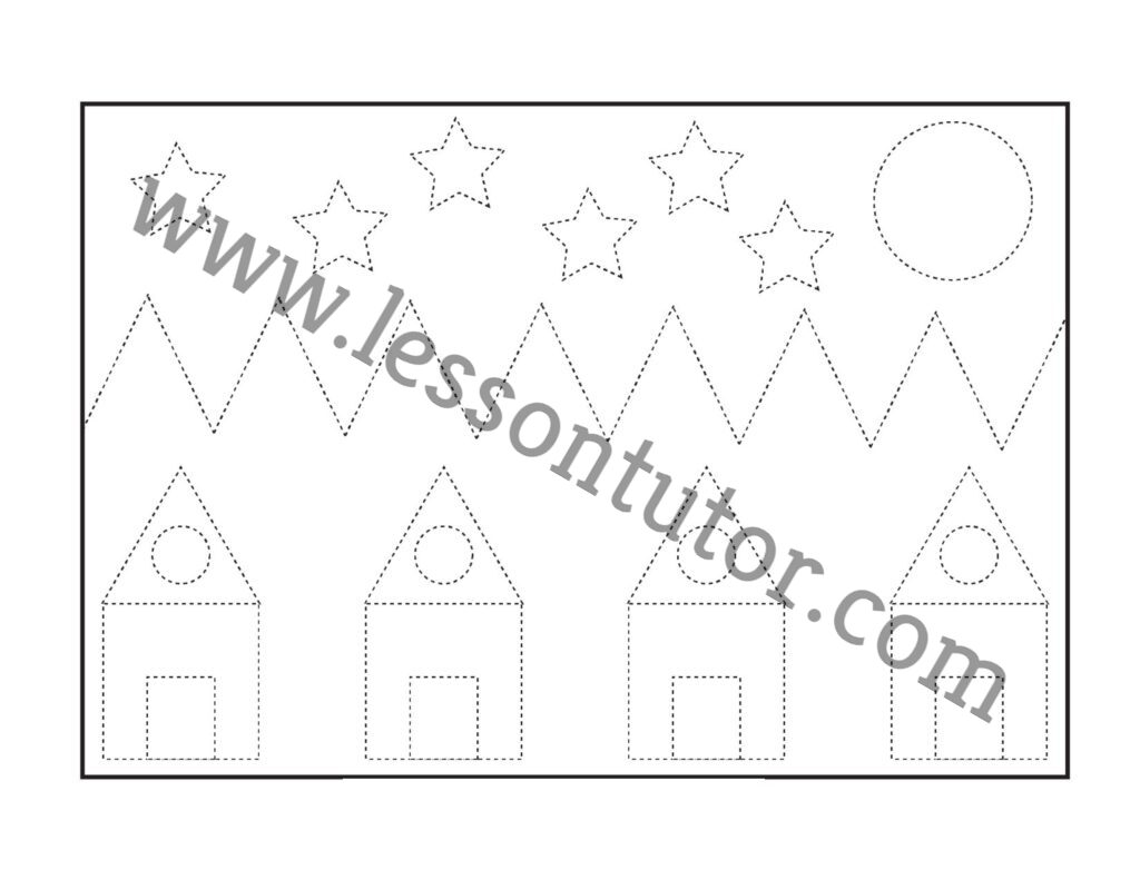 Picture Tracing Worksheet Kindergarten