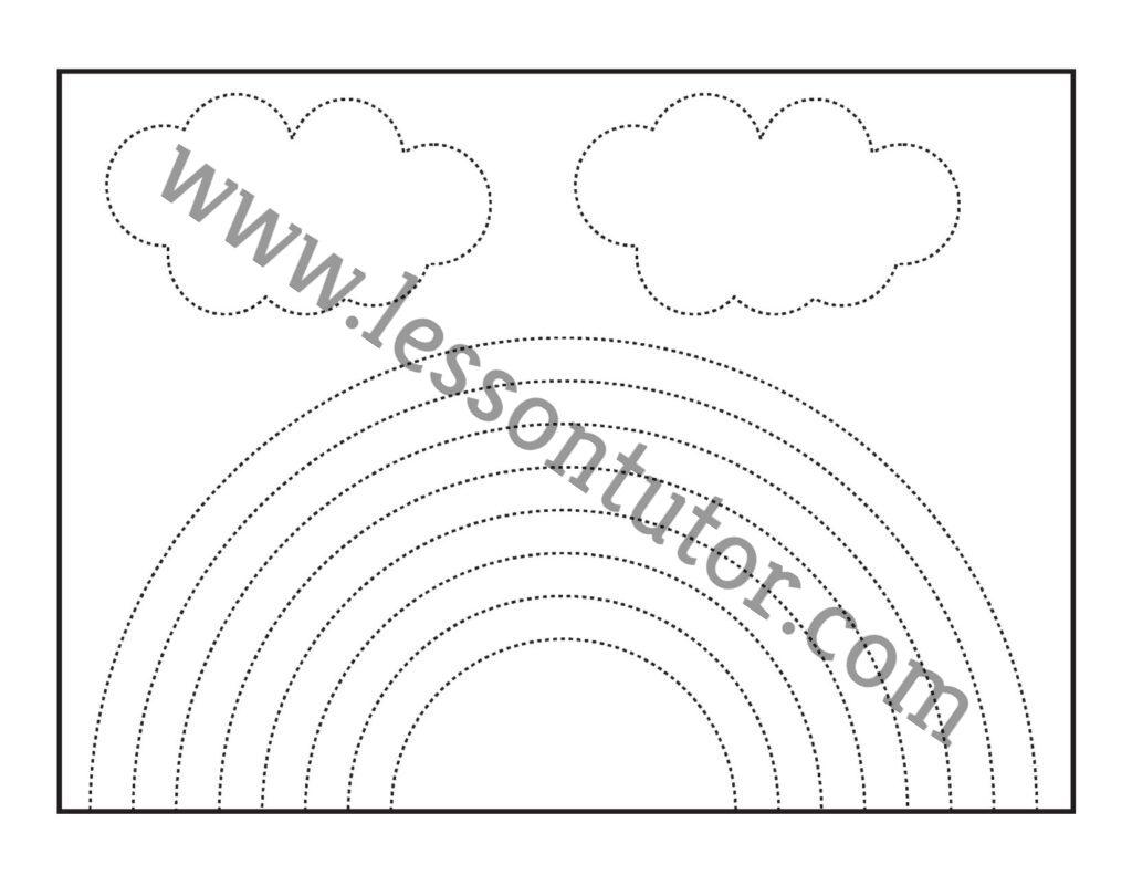 Rainbow Tracing Worksheets Kindergarten