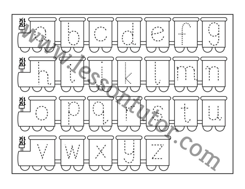 Small Letter Tracing Train Worksheet Preschool