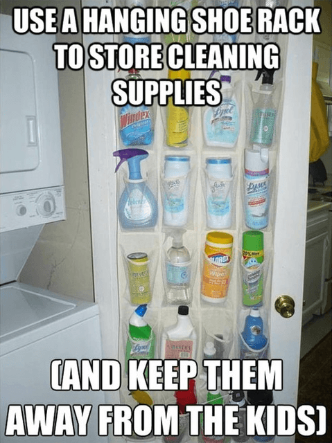 use a hanging shoe rack to store cleaning supplies