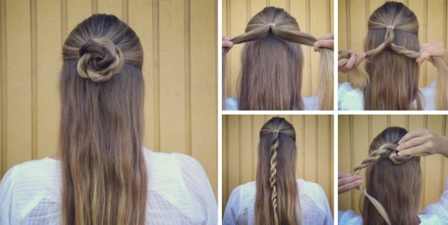 Причёски за 5 минут: Пучок в форме цветка