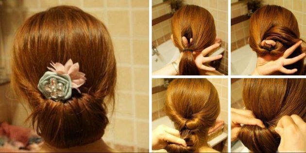 Причёски за 5 минут: Пучок наизнанку