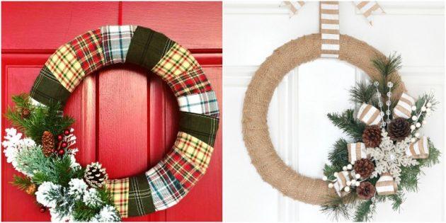 Новогодний венок своими руками: Новогодние венки из ткани или нити