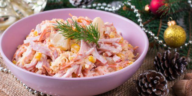 Рецепты салатов: салат с ананасом, ветчиной, корейской морковью, сыром и кукурузой