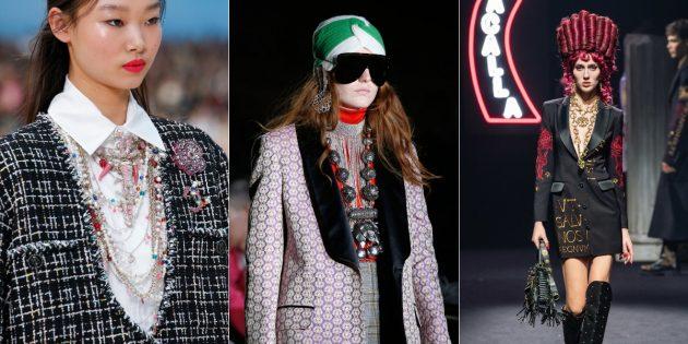 Модные аксессуары 2019года: бусы, кулоны и подвески в несколько ярусов