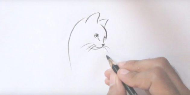 Tegn en kat lang overskæg