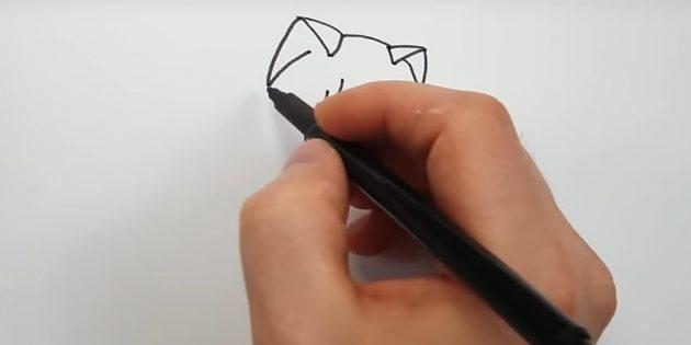 Top handy ører i form af trekanter og tilslut deres glatte linje