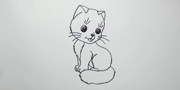 만화 스타일에 앉아있는 고양이를 그리는 법