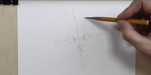 Måle kløften mellem midten af øjet og i samme afstand fra dem for at krydsse punktet på den vandrette linje