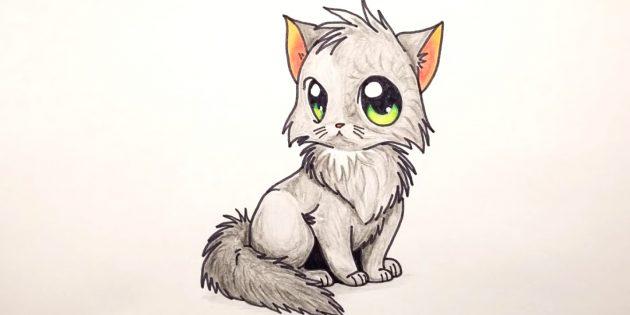Hogyan kell felhívni egy ülő macskát anime stílusban