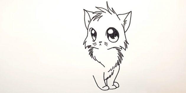 Como desenhar um gato de anime: à direita para desenhar o pé da perna de trás