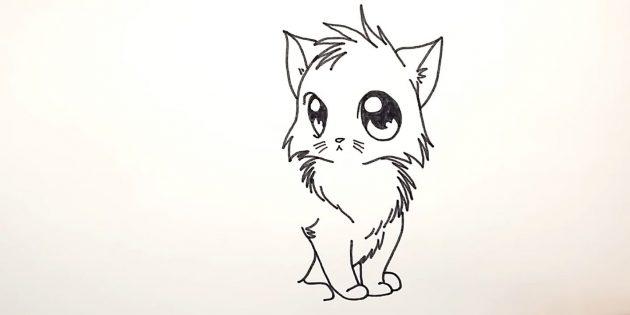 고양이 애니메이션을 그리는 방법 : 첫 번째 앞발을 통해 양모를 묘사합니다.