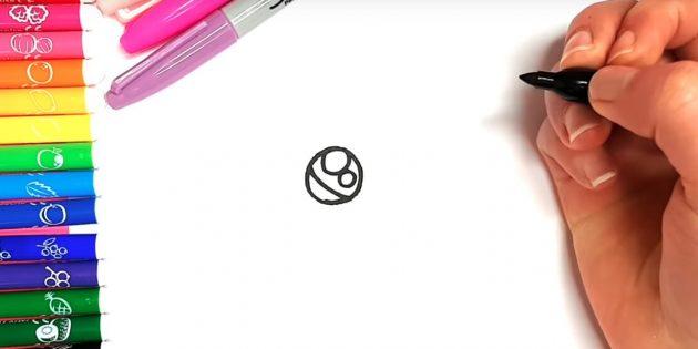 애니메이션 고양이를 그리는 방법 : 상단에서 두 개의 다른 머그잔을 그립니다.
