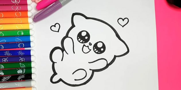 How to draw an anime cat: Thick marker circle the external contours of the cat
