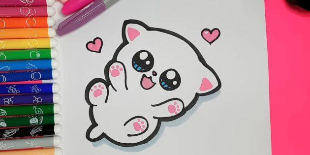 애니메이션 고양이를 그리는 방법 : 회색 마커 또는 마커가 동물의 오른쪽에 그림자를 지정했습니다.