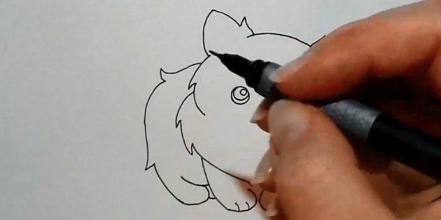 Rajzolja a hátát, kezdve a bal oldali fül alatt