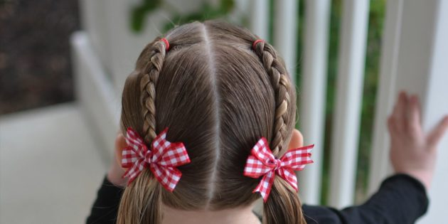 Hairstyles for girls: Low tails with two braids