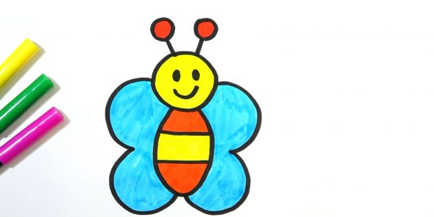 How to draw a simple cartoon butterfly with markers or pencils