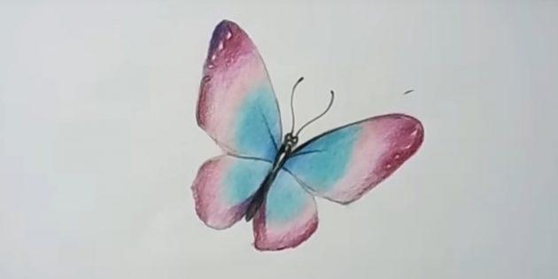 Добавьте фиолетовый цвет и затонируйте крылья бордовым оттенком пожирнее