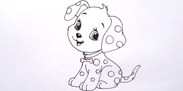 Como desenhar um cão sentado no estilo cartoon