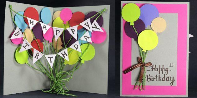 So machen Sie Postkarten mit Bällen zum Geburtstag mit Ihren eigenen Händen
