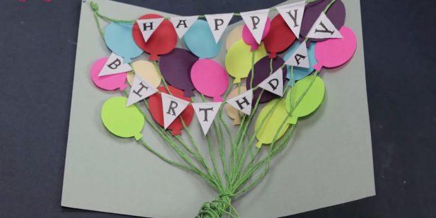 Karte für einen Geburtstag mit deinen eigenen Händen: Binden Sie die Enden der Pieptöne, drehen und schneiden Sie zu viel auf