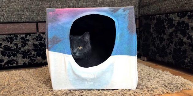 Como fazer uma casa para um gato fora da caixa e camisetas faça você mesmo