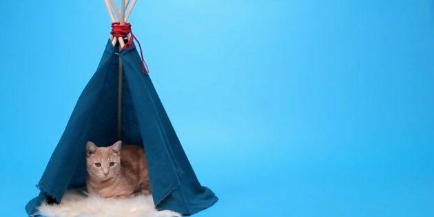 Como fazer uma casa-shala para um gato de prateleiras e tecidos com suas próprias mãos