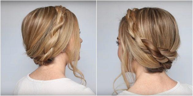 Причёски на длинные волосы: «корона» из перекрученных прядок