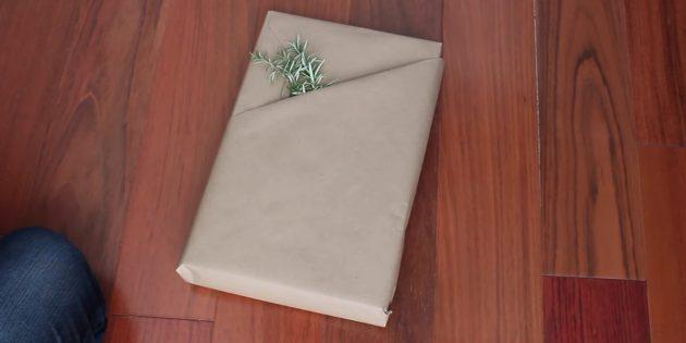 Как сделать упаковку с кармашком для прямоугольного подарка