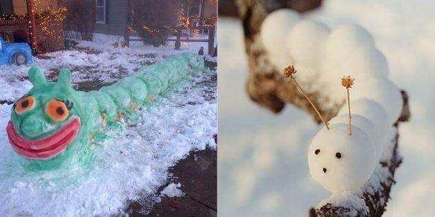 Снежные фигуры: гусеница