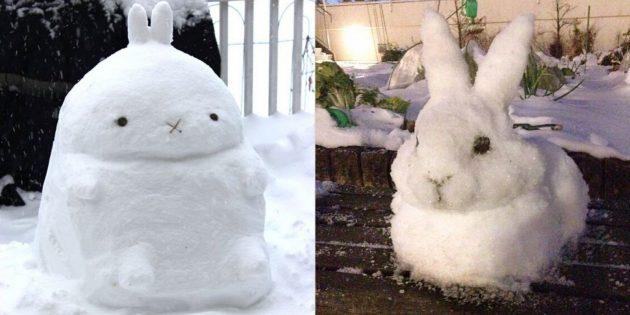 снежные фигуры: заяц