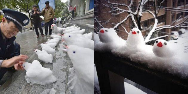 Снежные фигуры своими руками: птички