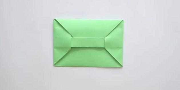Как сделать конверт с клапаном и прямоугольной застёжкой в технике оригами без клея