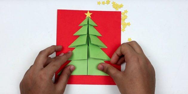 کارت پستال های سال نو آن را انجام دهید: درخت کریسمس را کامل کنید