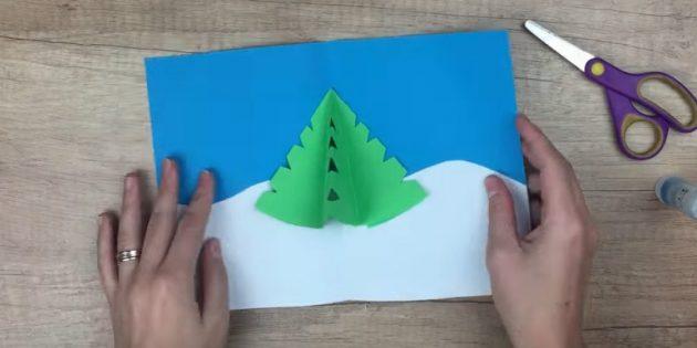 کارت پستال های سال نو آن را انجام دهید: درخت کریسمس را نگه دارید